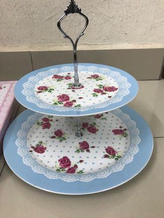 2 tier fruit cake display plates