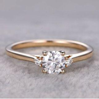 18K Rose Gold Solitaire Moissanite Diamond