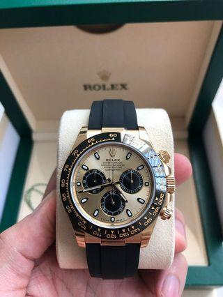 Brand New Rolex Daytona Cosmograph Oysterflex Champagne Dial 116518LN Stickers on!