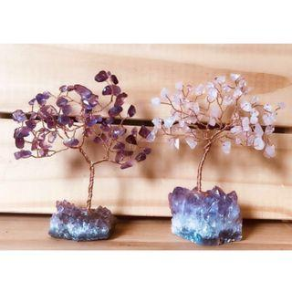 天然紫水晶粉水晶樹 手工原礦底座