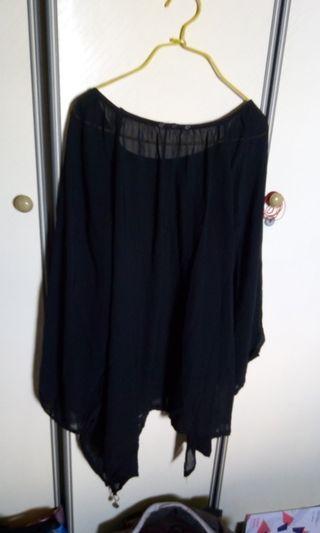 Plus sized uneven hemmed black blouse