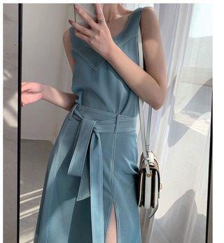 撞色明線V領背心高衩綁帶裙兩件套裝