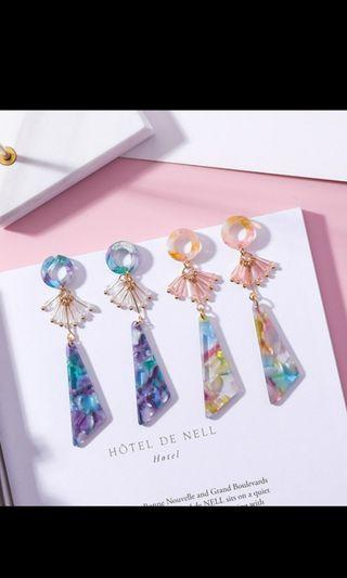 🚚 Crystal Geometry Earrings Girl Colorful Triangle Fringe Wild