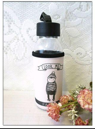 🚚 全新 300ml玻璃杯 附杯套 隨身杯 玻璃水壺 水瓶 儲物罐 保鮮密封瓶 出清