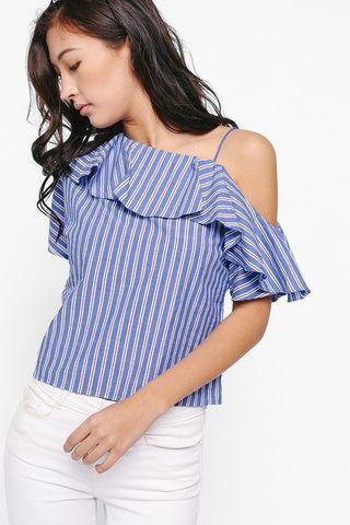 Love Bonito Stripe Ruffle Top