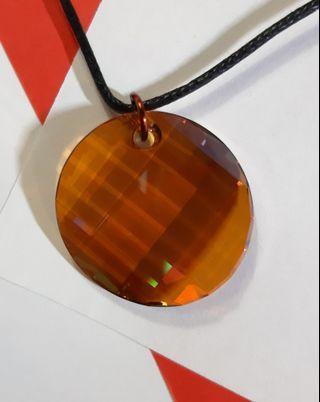 Swarovski elements crystal 6621 copper twist pendant with wax cord 925 silver clip necklace 施華洛世奇水晶元素扭圓形牌吊墜咀嘴配蜡繩925純銀扣頸鏈項鍊