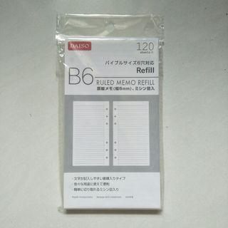 daiso B6 ruled memo refill
