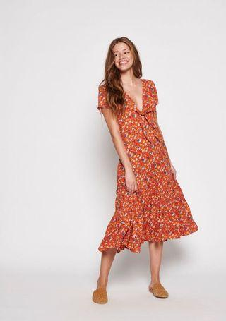 Agnes Fleur Maxi Rust Orange Floral Short Sleeve Tie Front Dress