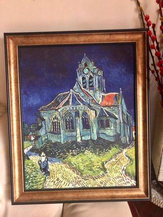 Van Gogh 梵高奧維爾的教堂油畫