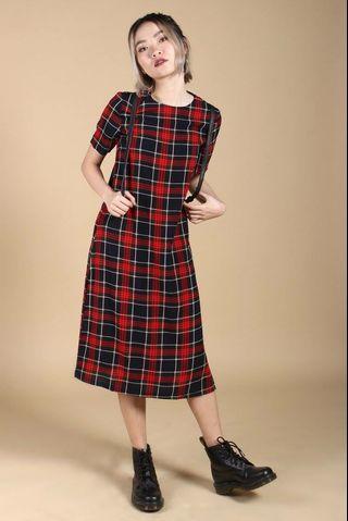 YoungHungryFree Plaid Midi Dress (YHF)