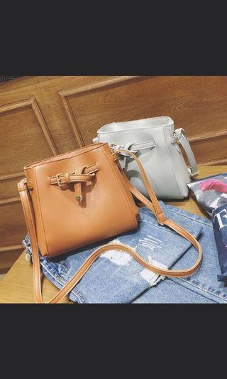 Bucket Sling Bag in Brown