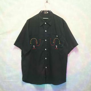 三件7折🎊 Trussardi 襯衫 短袖襯衫 黑 電繡logo 極稀有 義大利製 老品 復古 古著 Vintage
