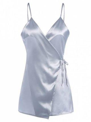 Silk Wrap Dress with Spaghetti Straps