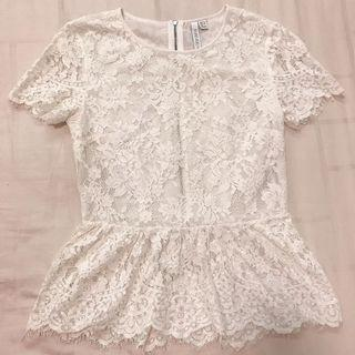 Forever New Lace White Top XS Like New