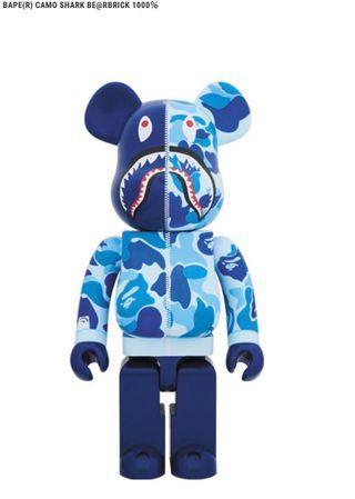 全新 Bearbrick BE@RBRICK ABC CAMO Shark 1000% Blue 猿人 A BATHING APE bape Kaws medicom toy 1000 400 100 baby wood