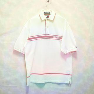三件7折🎊 Tommy Hilfiger polo衫 短袖 粉白 電繡logo 極稀有 老品 古著 復古 Vintage