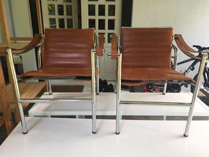 Pair of Designer Le Corbusier leather chairs