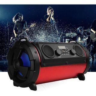 🚚 Radio Shaped Outdoor Portable Bluetooth Speaker 16W Subwoofer Multifunction Card Microphone Speaker With TF, USB, AUX, FM, MIC And LED flashing light With Carry Strap(blue-Black) EC-1602