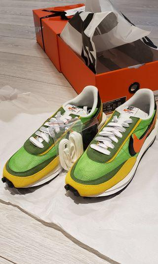 Nike + Sacai LDV Waffle Mesh, Suede and Leather Sneakers Green Yellow US10