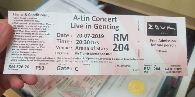 A-Lin Concert Live in Genting seat