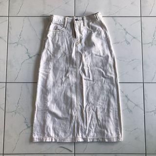 Ivory Denim Midi Skirt