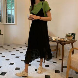 韓版 只有一件超美V領皺褶吊帶裙(黑)