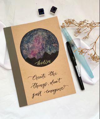 Calligraphy galaxy muji notebooks
