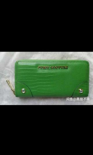 Authentic Juicy couture green long zip wallet clutch