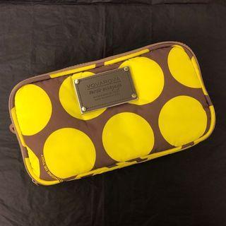 (90% new) 日本 VOVAROVA Compact Brush Case - Polka Dot (Neon Yellow + Brown) 螢光黃拼啡色 大圓點 長型化妝包 化妝袋 小物袋 收納袋 (原價: HK$230)