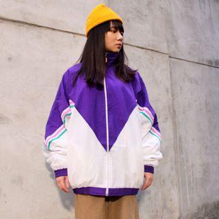 私路古著 復古拼色運動外套 紫色