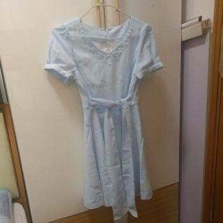 女裝 日牌 粉藍閃水晶 連身裙