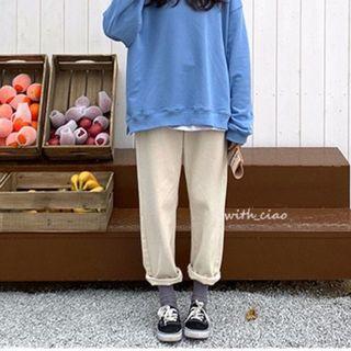 燈芯絨奶油色鬆緊腰男友褲(瑕疵)