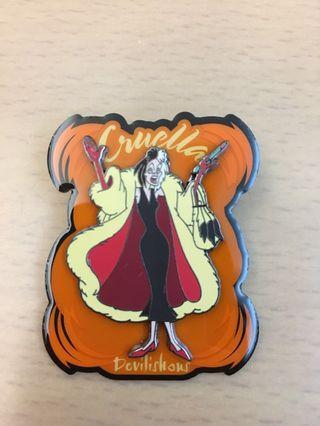 廸士尼 101斑點狗 Cruella 襟章 Disney 101 Dalmatians Cruella Pin