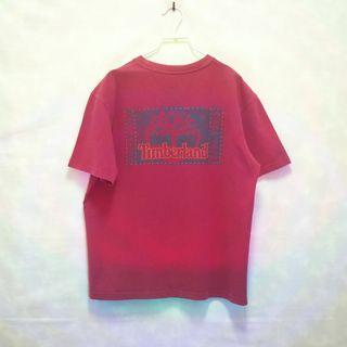 三件7折🎊 Timberland 短T 老T 紅刷色 重磅 大logo 極稀有 老品 復古 古著 Vintage
