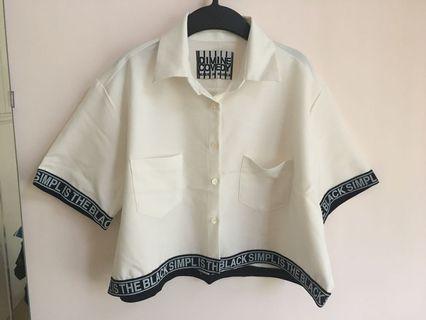 韓國 Dimine Comedy 女裝 白色型格 恤衫短上衣外套(原價$299)