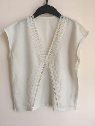 韓國女裝白色上衣(短衫襯衣)