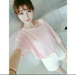粉紅披肩氣質上衣