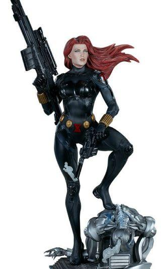 🚚 Sideshow Black Widow Premium Format Exclusive Edition Figurine Long Hair Portrait Statue Marvel