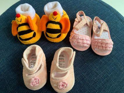 3 pairs of Baby Girl Shoes mothercare/others