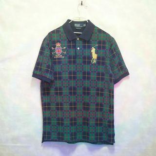 三件7折🎊 Ralph Lauren polo衫 短袖 深藍 綠 格紋 大馬 極稀有 老品 復古 古著 Vintage