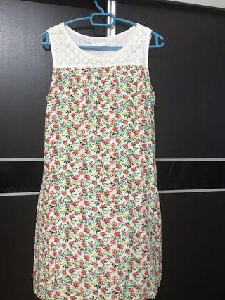 White lace top floral dress
