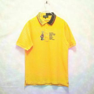 三件7折🎊 義大利牌復古polo衫 短袖 黃 電繡 雙色領 極稀有 老品 復古 古著 Vintage