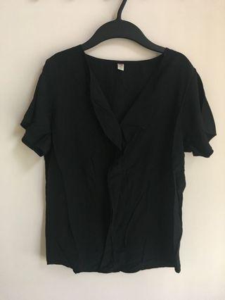 韓國女裝 黑色紡質涼爽上衣(襯衫tee)