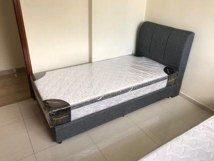 Single Fabric bed with Spring mattress