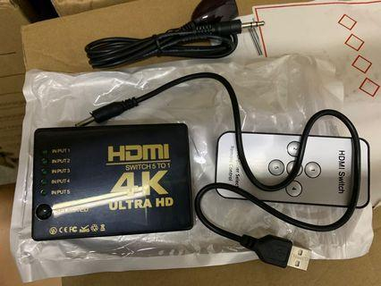 HDMI switch 5 to 1 with remote controller