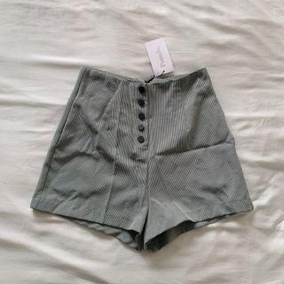 Pomelo Houndstooth Button Shorts
