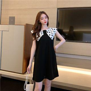 PO 1200 Polka Dot Pattern Big Collar Sleeveless Dress Black Ulzzang