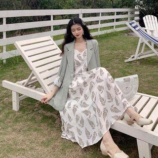 PO 1203 Leaf Brown Colour Pattern Sleeveless Strap Dress with Long Sleeve Blazer Jacket Outerwear 2 Piece Set Ulzzang white/green