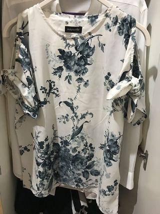 Flower White Blouse