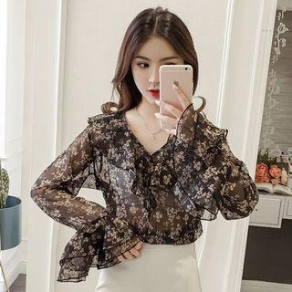 PO 1204 Ruffle Big Collar Floral Flower Pattern Slightly See Though Chiffon Shirt Blouse Ulzzang almond light brown / black